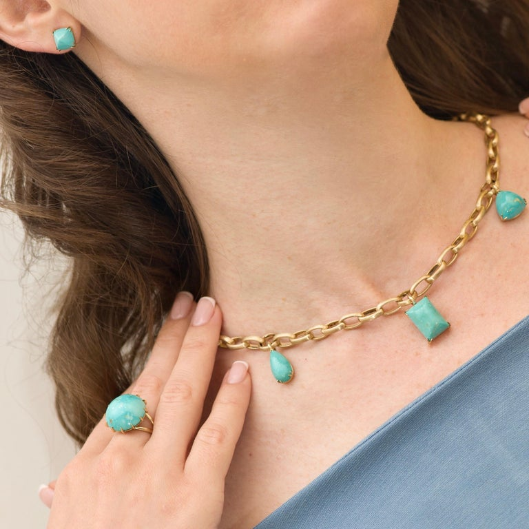 Women's Natural Blue Turquoise 14 Karat Yellow Gold Necklace For Sale