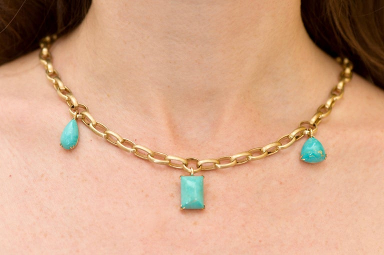 Natural Blue Turquoise 14 Karat Yellow Gold Necklace For Sale 1