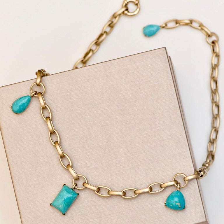 Natural Blue Turquoise 14 Karat Yellow Gold Necklace For Sale 2