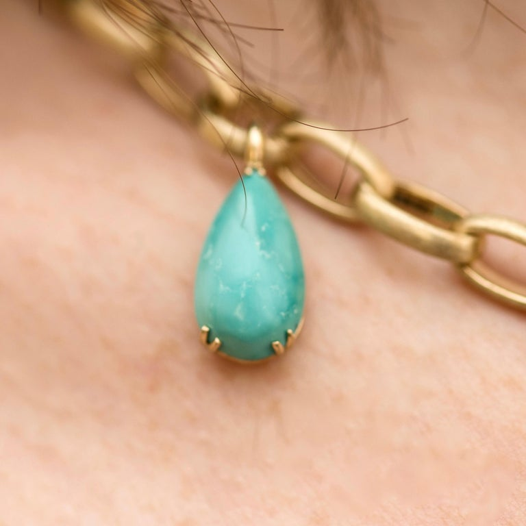 Natural Blue Turquoise 14 Karat Yellow Gold Necklace For Sale 3