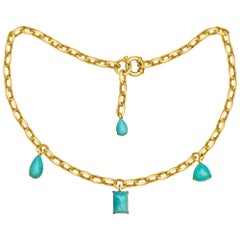 Natural Blue Turquoise 14 Karat Yellow Gold Necklace