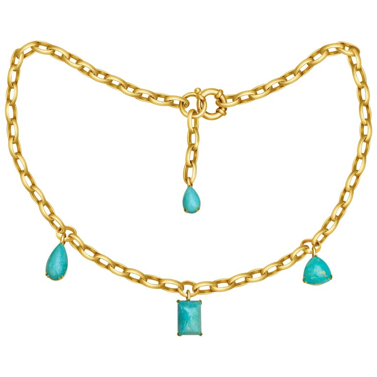 Natural Blue Turquoise 14 Karat Yellow Gold Necklace For Sale