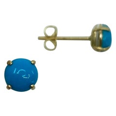 Natural Blue Turquoise Round Cabochon 9 Karat Yellow Gold Earring Studs