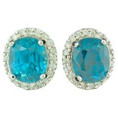 Natural Blue Zircon and Diamond Stud Earrings