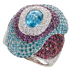 Natural Blue Zircon, Diamond and Sapphire Contemporary White Gold Cocktail Ring