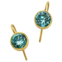 Natural Blue Zircon Earrings