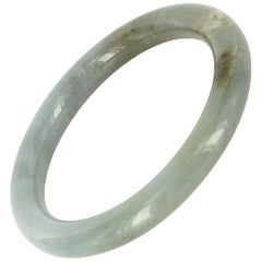 Natural Bluish Green Jadeite Jade Round Vintage Bangle Bracelet Estate Jewelry