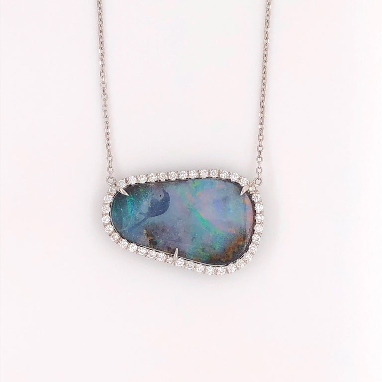 Natural Boulder Opal Free-Form Pendant and 0.40 Carat Total of Round Diamonds In New Condition For Sale In Houston, TX