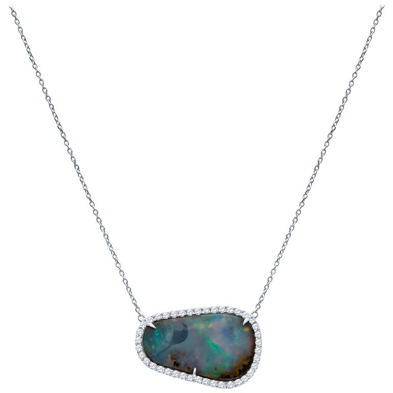 Natural Boulder Opal Free-Form Pendant and 0.40 Carat Total of Round Diamonds For Sale