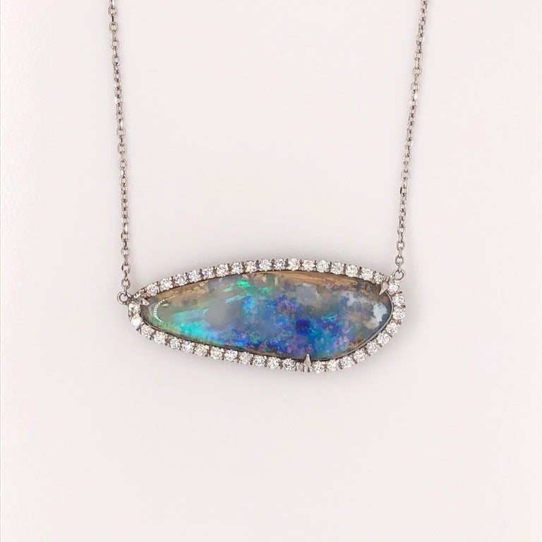 Natural Boulder Opal, Freeform Pendant with 0.42 Carat Total of Round Diamonds In New Condition For Sale In Houston, TX