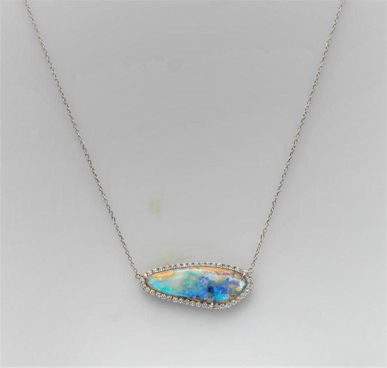 Women's Natural Boulder Opal, Freeform Pendant with 0.42 Carat Total of Round Diamonds For Sale