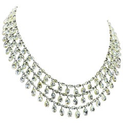 Natural Briolette Diamond 3-Raw Choker Necklace in 18 Karat Gold