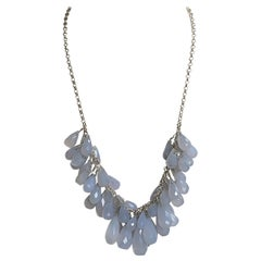 Natural Briolette Powder Blue Chalcedony Drops in a Sterling Silver Necklace