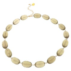 Natural Brown Citrine 9 Karat Rose Gold Choker Necklace Handcrafted in Italy