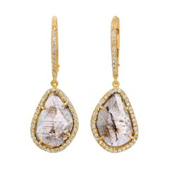 Natural Brown Clear Diamond Slice Earrings with Pave Diamonds in 18k Yellow Gold