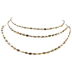 Natural Brown Rosecut Marquis Diamond Chain Necklace in 18 Karat Gold
