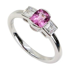 Natural Bubble Gum Pink Spinel & Diamond 3 Stone Cocktail Ring, Glows