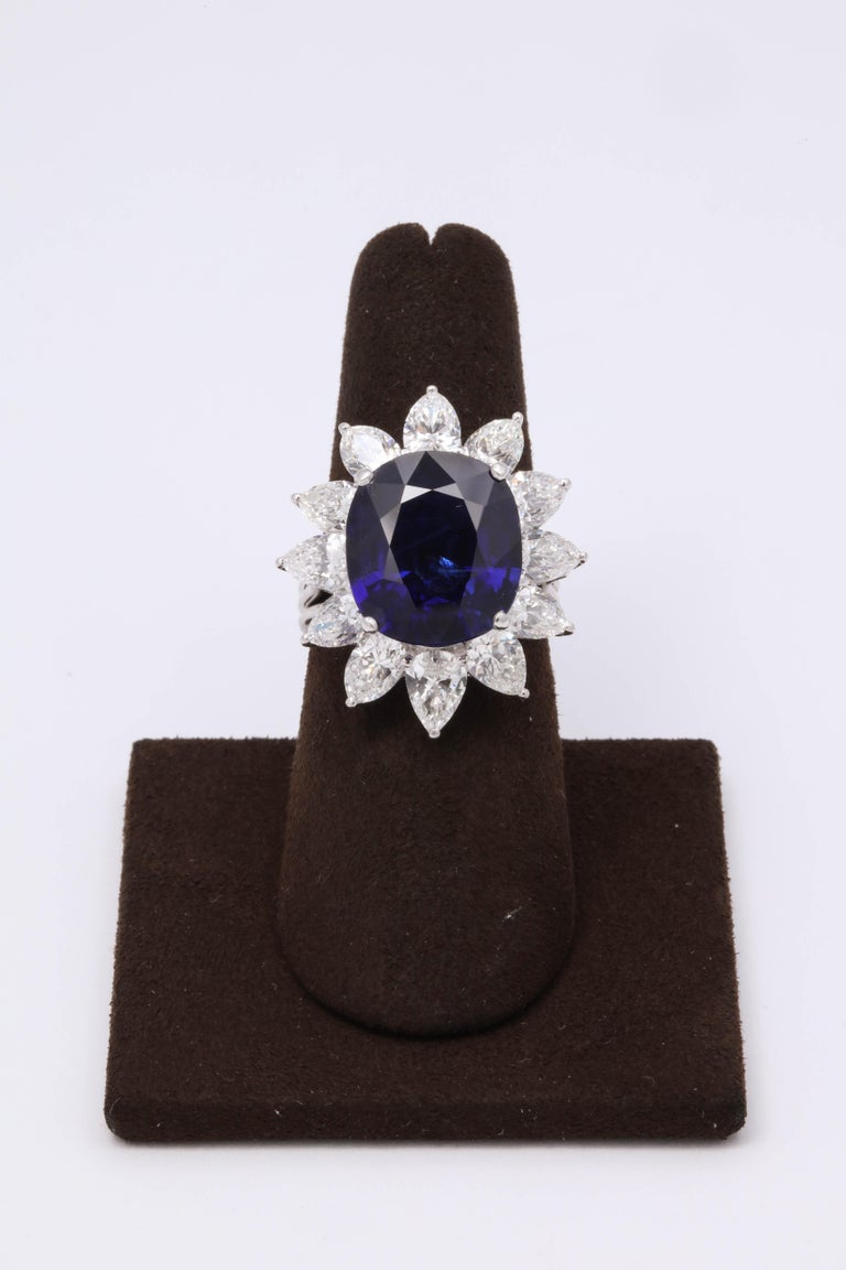 A collectors item!!  Exquisite 9.73 carat cushion cut Blue Burma Sapphire -- the stone is completely natural with zero enhancement --