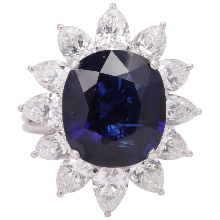 Natural Burma No Heat Blue Sapphire Ring For Sale