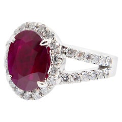 Natural Burma Ruby 2.56 Carat and Diamond Cocktail Ring