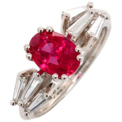 Natural Burma Ruby and Diamond Cocktail Ring