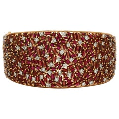 Natural Burma Ruby Diamond Cuff Bracelet Certified Unheated Burmese Rose Gold