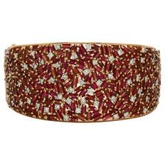 Natural Burma Ruby Diamond Cuff Bracelet Certified Unheated Burmese Rose Gold