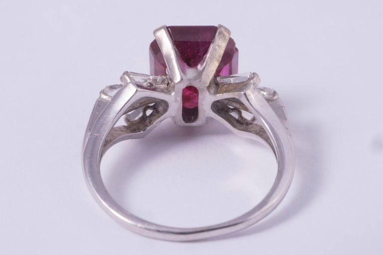 Emerald Cut Natural Burma Ruby Ring 4.21 Carat For Sale
