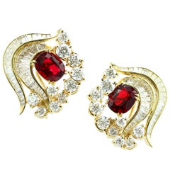 Natural Burma Spinel and Diamond Yellow Gold Earrings, Julius Cohen
