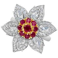 Natural Burmese Ruby and 1.27 Carat Rose Cut Diamond Ring, 18 Karat White Gold
