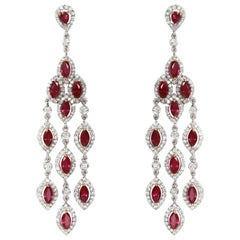 Natural Burmese Ruby and Diamond Chandelier Earrings