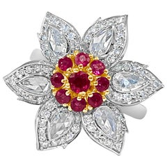 Natural Burmese Ruby and Rosecut Diamond Ring, 18 Karat White Gold