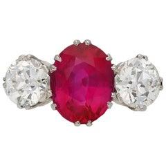 Natural Burmese Ruby Diamond Ring, circa 1915