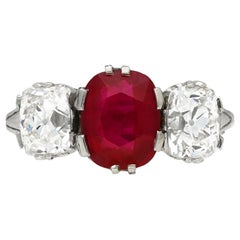 Natural Burmese Ruby Diamond Three-Stone Ring, circa 1910