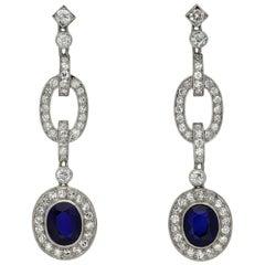 Natural Burmese Sapphire and Diamond Drop Earrings, circa 1925