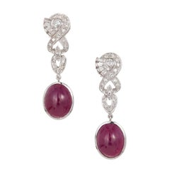 GIA Certified 14.32 Carat Oval Red Ruby Diamond Platinum Dangle Earrings