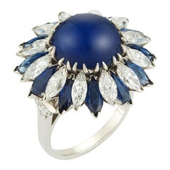 Natural Cabochon Sapphire Cocktail Ring