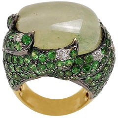 Natural Cabochon Tsavorite Cocktail Ring in 18 Karat Yellow Gold with Diamonds