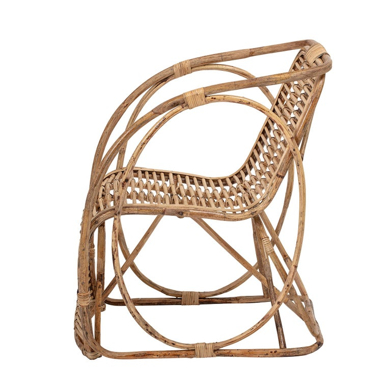 Organic Modern Natural Cane Wicker Lounge Armchair For Sale