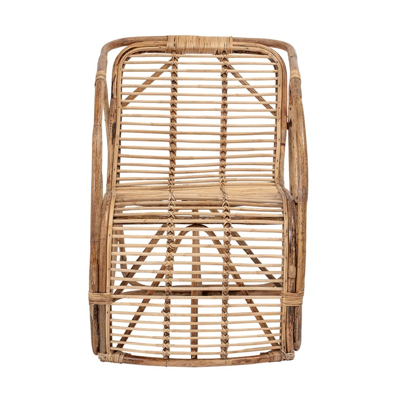 Danish Natural Cane Wicker Lounge Armchair For Sale