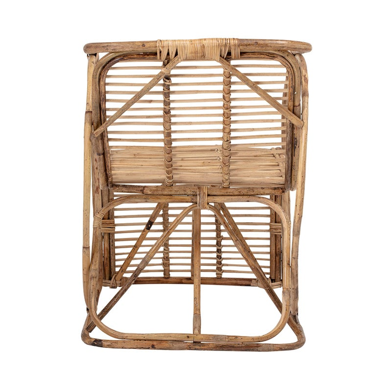 Caning Natural Cane Wicker Lounge Armchair For Sale
