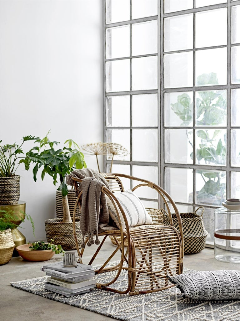 Natural Cane Wicker Lounge Armchair In New Condition For Sale In Paris, FR
