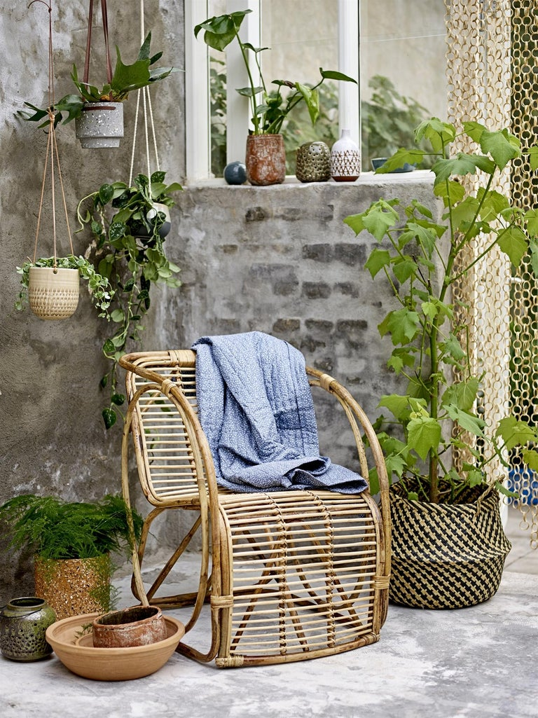 Contemporary Natural Cane Wicker Lounge Armchair For Sale