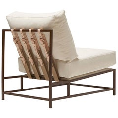 Natural Canvas and Marbled Rust Chair
