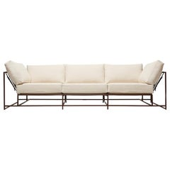 Natural Canvas and Marbled Rust Sofa with Contrast Belting