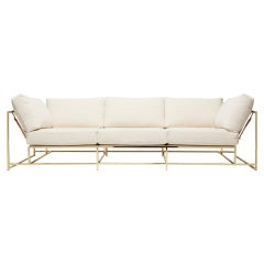 Natural Canvas and Polished Brass Sofa with Tonal Belting
