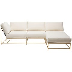 Natural Canvas & Tarnished Brass Small Sectional