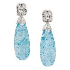 Natural Carved Aquamarine Drop Earrings