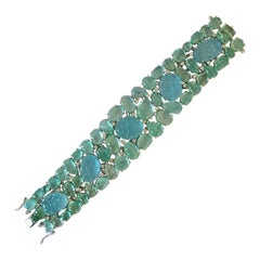 Natural Carved Aquamarine, Emerald and Diamond Bracelet Set in 18 Karat Gold