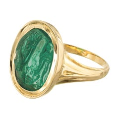 Natural Carved Colombian Emerald Gold Cocktail Ring